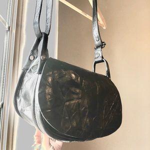 Rare ABRO black leather crossbody bag gunmetal